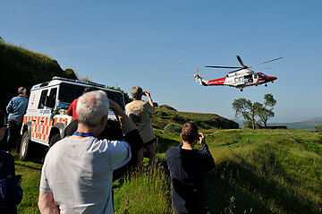 The AW139 Coastguard Search and Rescue helicopter from St. Athan arrives