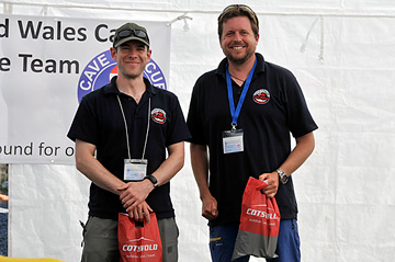 2 of the stretcher race winners with their Cotswold Outdoors goody bags.