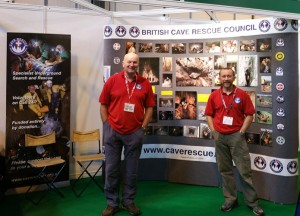 Vice Chair (Dany Bradshaw) and Equipment Officer (Mike Clayton) look after the BCRC Stand at the 2015 Emergency Services Show