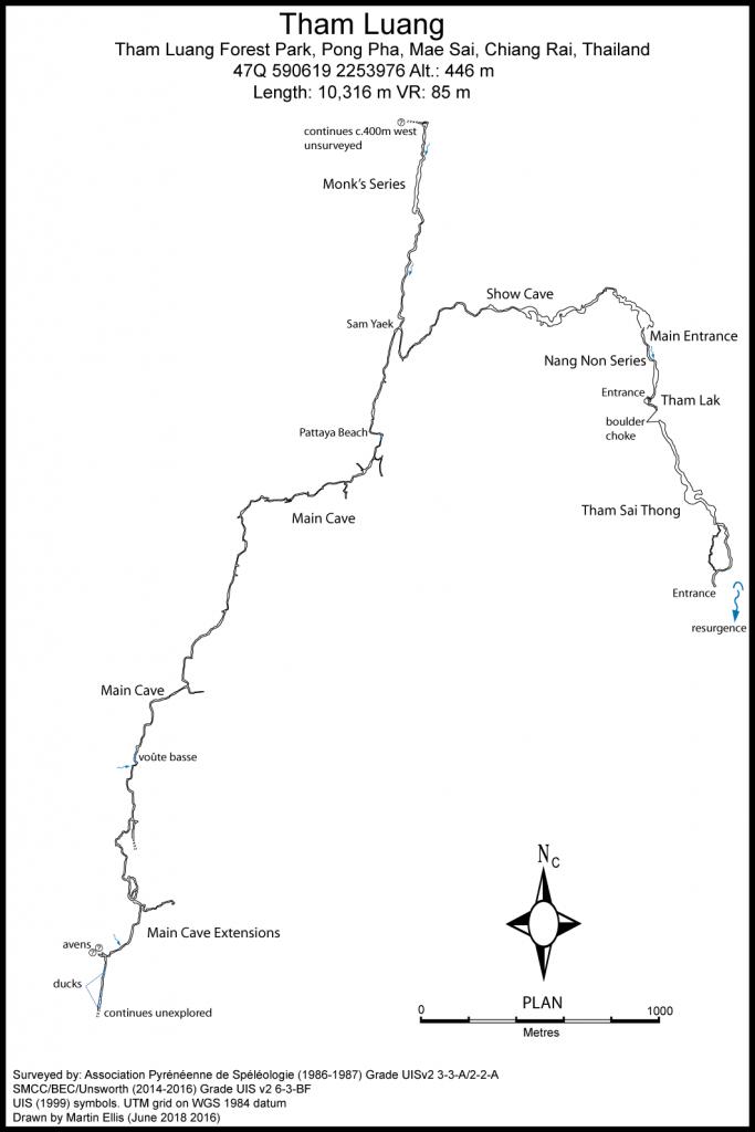 Cave survey of Tham Luang Nang Non cave (© thailandcaves.shepton.org.uk)